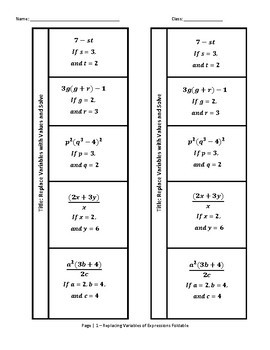 Order of Operations Replacing Variables Foldable