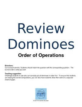 Order of Operations Review Dominoes