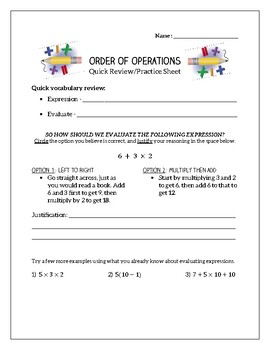 Order of Operations - Review & Practice