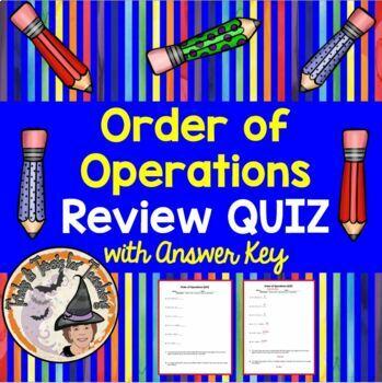 Order of Operations Review QUIZ Practice Worksheet Homework PEMDAS