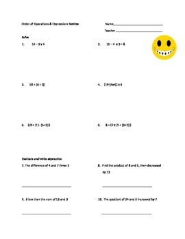 5th Grade: Order of Operations & Expressions Review or Quiz #2