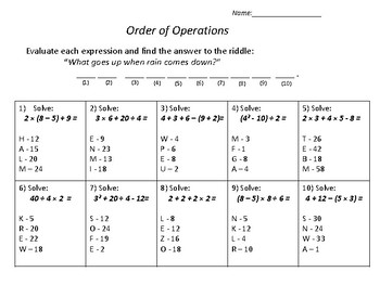 Order of Operations - Riddle