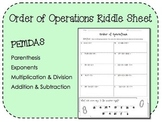 Order of Operations Riddle Sheet