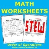 Order of Operations Riddle and Coloring Worksheet #2