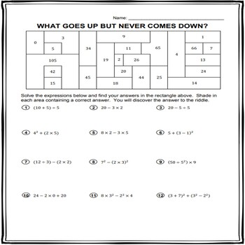 Order of Operations Riddle and Coloring Worksheet #3