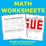 Order of Operations (BEDMAS) Riddle and Coloring Worksheet