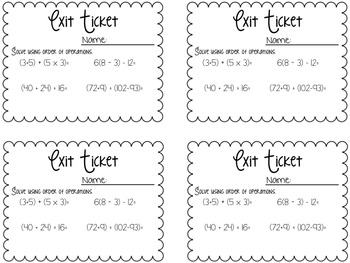 Order of Operations Sampler Packet!