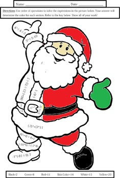 order of operations santa coloring sheet