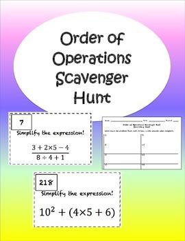 Order of Operations Scavenger Hunt