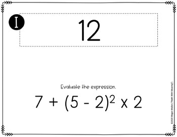 Order of Operations Scavenger Hunt Activity - CCSS 6.EE.A.2.C