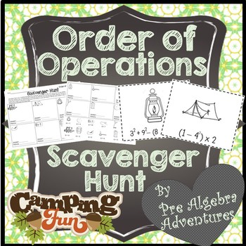 Order of Operations Scavenger Hunt {PEMDAS } {Algebra Activity} {Algebra Games}