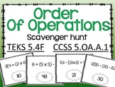 Order of Operations Scavenger Hunt TEKS 5.4F CCSS 5.OA.A.1