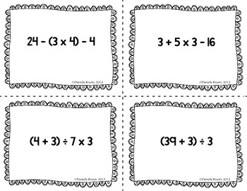 Order of Operations Seating Cards