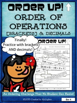 Order of Operations Set 4 [with Brackets] and Decimals - Order Up!