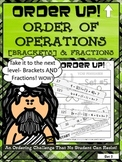 Order of Operations Set 5 [with Brackets] and Fractions - Order Up!