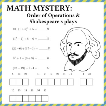 Order of Operations & Shakespeare's plays