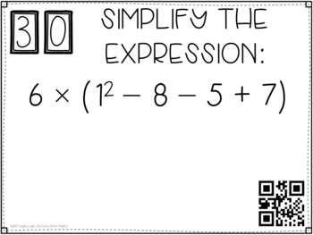 Order of Operations (Simplifying Expressions) Task Cards GOOGLE Slide Version