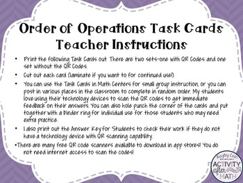 Order of Operations (Simplifying Expressions) Task Cards with QR Codes