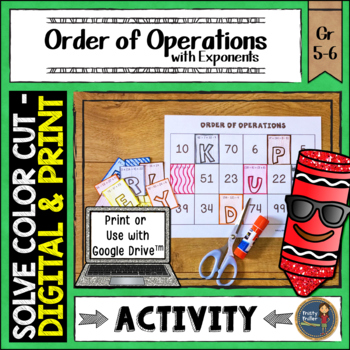 Order of Operations Solve, Color, Cut