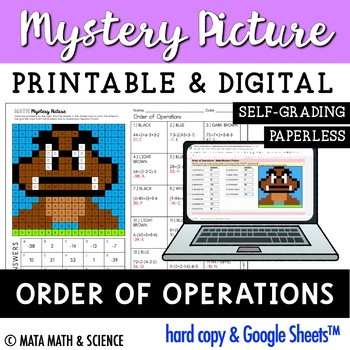 Order of Operations: Solve + Color Mystery Picture (Super Mario Bros.)