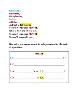 Order of Operations Song
