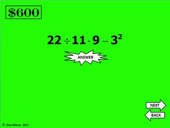 Order of Operations Spin to Win Game