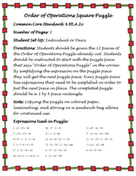 Order of Operations Square Puzzle (6.EE.2c)
