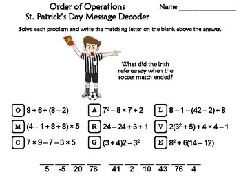Order of Operations St. Patrick's Day Math Activity: Message Decoder