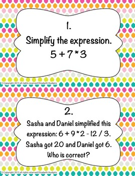 Order of Operations Stations