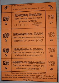 Order of Operations Step-by-Step Foldable