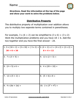Order of Operations Practice Packet - 5.OA.1