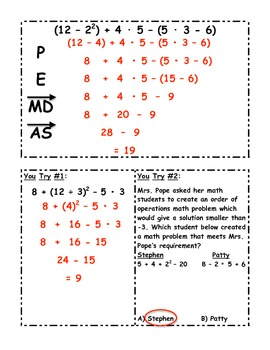 Order of Operations Student Notes with You Try Questions