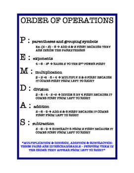 Order of Operations Study Sheet