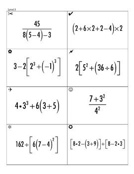 Order of Operations Sum Em Activity