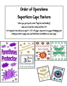 "Order of Operations ""Superhero Cape"" Posters"