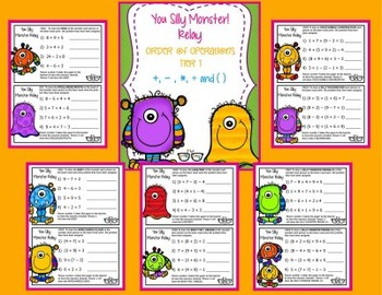 Order of Operations TIERED Silly Monster Relay! (4 relays in one bundle!)