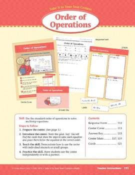 Order of Operations (Take It to Your Seat Centers Common Core Math)