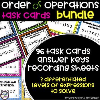 Order of Operations Task Card Bundle
