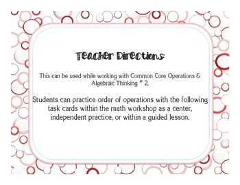 Order of Operations Task Cards Common Core Standard 5 OA.2