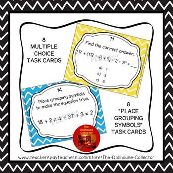Order of Operations Task Cards - 16 Cards With Recording Sheets & Answer Key