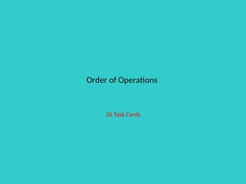 Order of Operations Task Cards