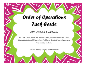 Order of Operations Task Cards 5.OA.A.1 & 6.EE.A.2.C