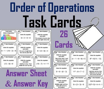 7th 6th 5th Grade Order of Operations Task Cards