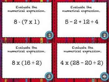 Order of Operations Task Cards - 28 Common Core Aligned Middle Grades Cards