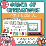 Order of Operations Task Cards and Easel Activity