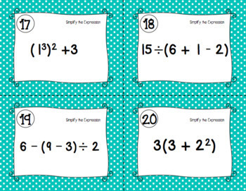 Order of Operations Task Cards: Print and Digital