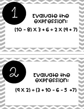 Order of Operations Task Cards *No Exponents*