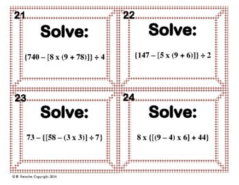 Order of Operations Task Cards (5.OA.A.1)
