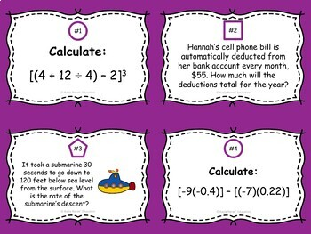 Order of Operations Task Cards: 7.NS.3