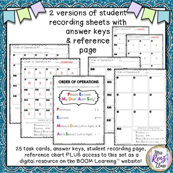 Order of Operations Task Cards AND Digital Boom Cards for Use on Boom Learning™